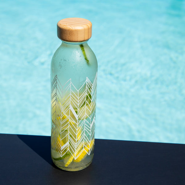 500ml Nordic Is Krystaller (Ice Crystals) Design Glass Bottle with Bamboo Lid (CODE WB1002)