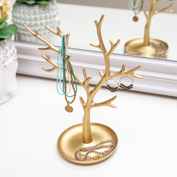 Metal gold jewellery tree stand - 28CM (CODE 1005)