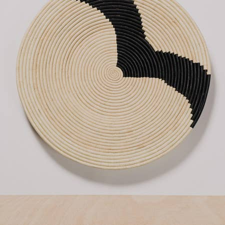 Striped Black + Natural Raffia Plate II