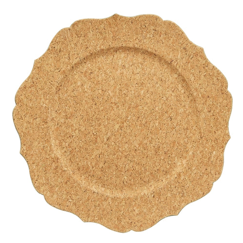 Cork Veneer Scalloped Charger