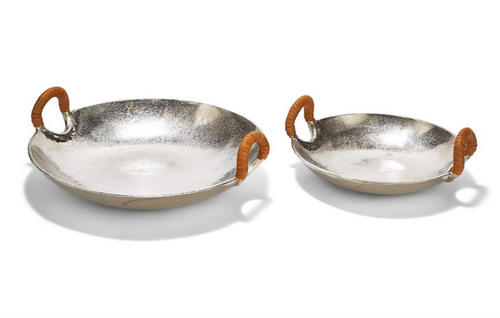 Set of 2 Saucer Trays with Genuine Leather Handles