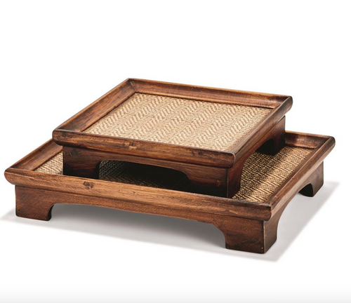 Set of 2 Teak Decorative Pedestal Trays with Bamboo Weaving
