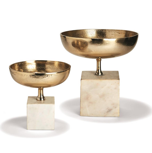 Set of 2 Chalice Bowl Sculptures on Marble Base - Aluminum/Bronze/Marble