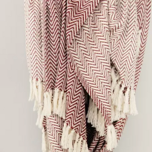 Chevron Blanket - Burgundy