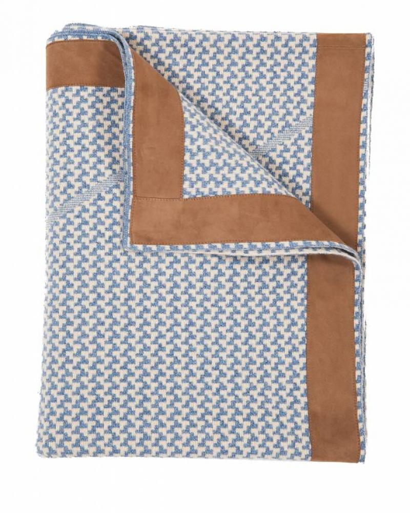 DENVER CASHMERE JACQUARD THROW SUEDE BORDER: DENIM-SAND