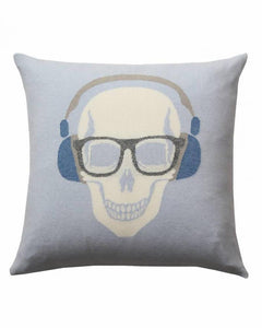 "SKULL HEADPHONES PILLOW: 21"" X 21"": LIGHT BLUE-GRAY"