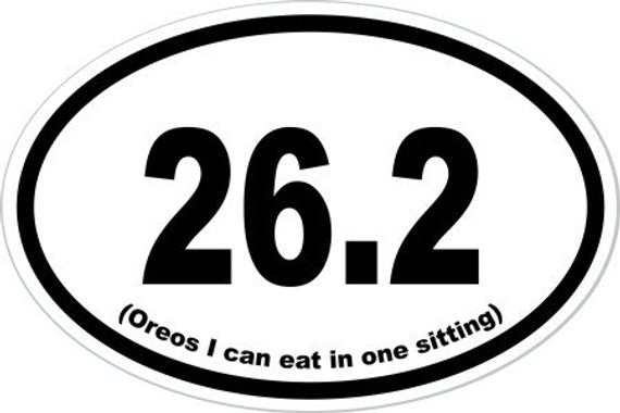 "4"" x 6"" '26.2 OREOS In One Sitting' Vinyl Decal Bumper Sticker"