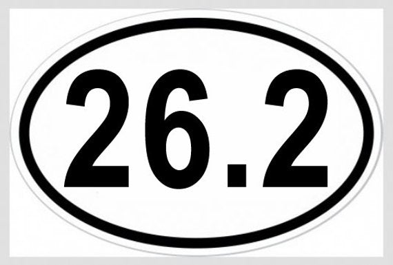 26.2 Marathon Oval Vinyl Decal Bumper Sticker