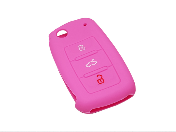 VW 3 Button Key Silicone Shell Case Pink