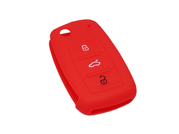 VW 3 Button Key Silicone Shell Case Red