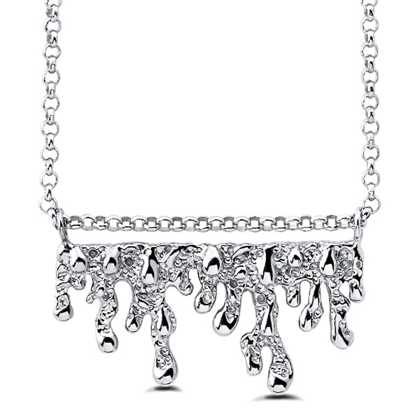 sa'oti saoti jewelry handcrafted 925 sterling silver rhodium plated melt necklace pendant chain