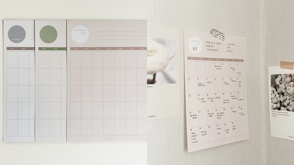 Ourjoy Wall Calendar Undated Monthly Planner Sheets
