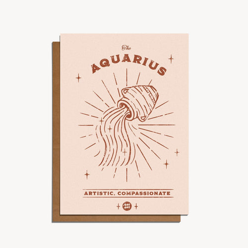 Aquarius Zodiac Sign Birthday Card | Paper & Cards Studio