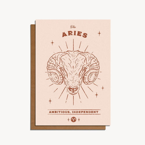 Aries Zodiac Sign Birthday Card | Paper & Cards Studio