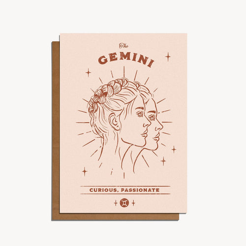 Gemini Zodiac Sign Birthday Card