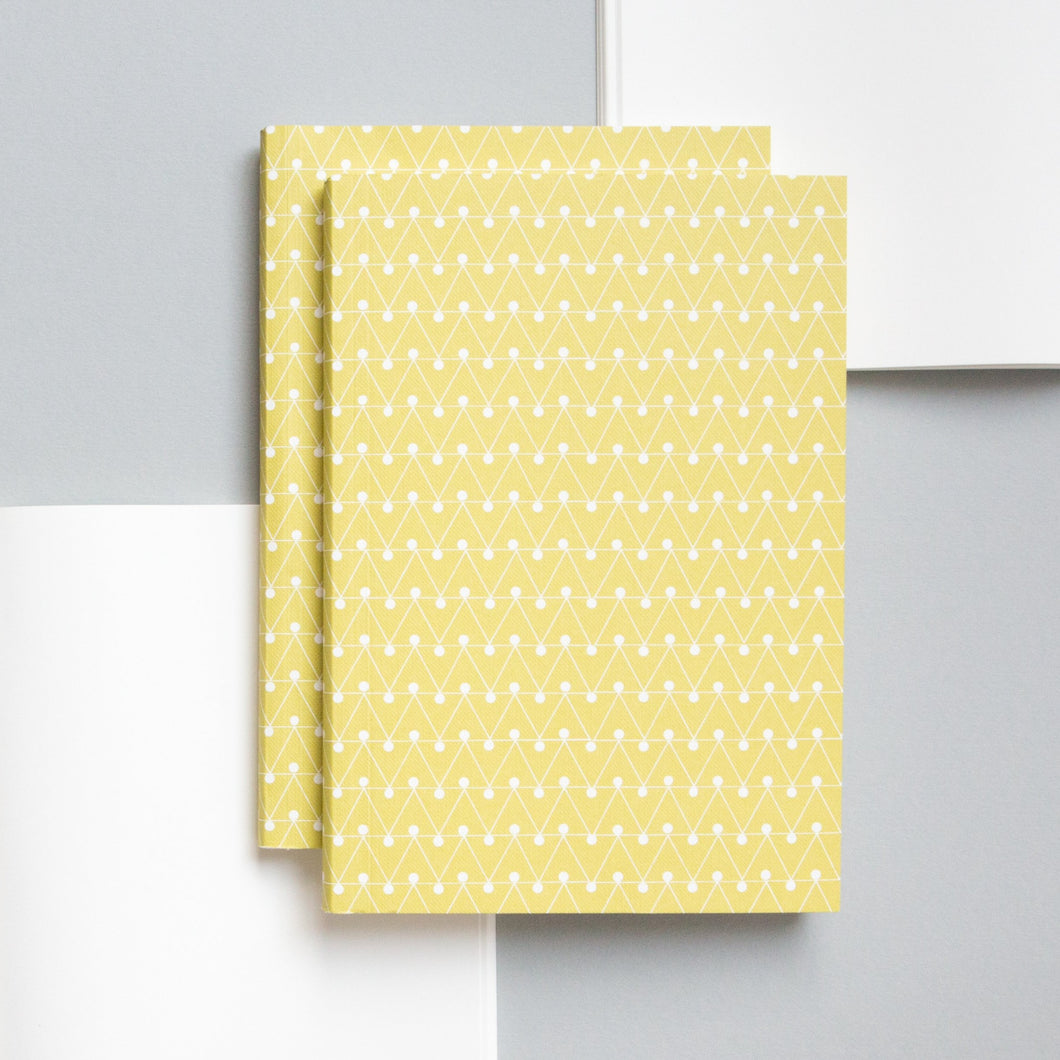 Medium Layflat Notebook, Dash Print in Leaf Green | Ruled | Paper & Cards Studio