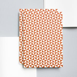 Medium Layflat Notebook, Kaffe Print in Brick Red | Ruled | Paper & Cards Studio