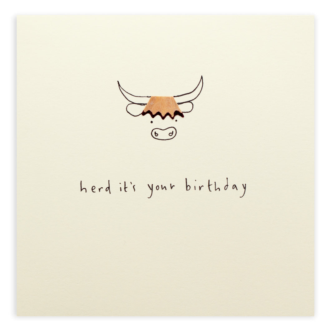 Birthday Highland Cow - Pencil Shavings Card | Paper & Cards Studio