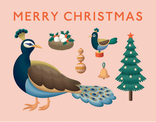 Peacock Merry Christmas Card