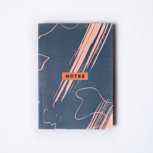 Steel Blue Scribble Brush A5 Flat Lay Notebook, Blank, Grid and Lined | Paper & Cards Studio