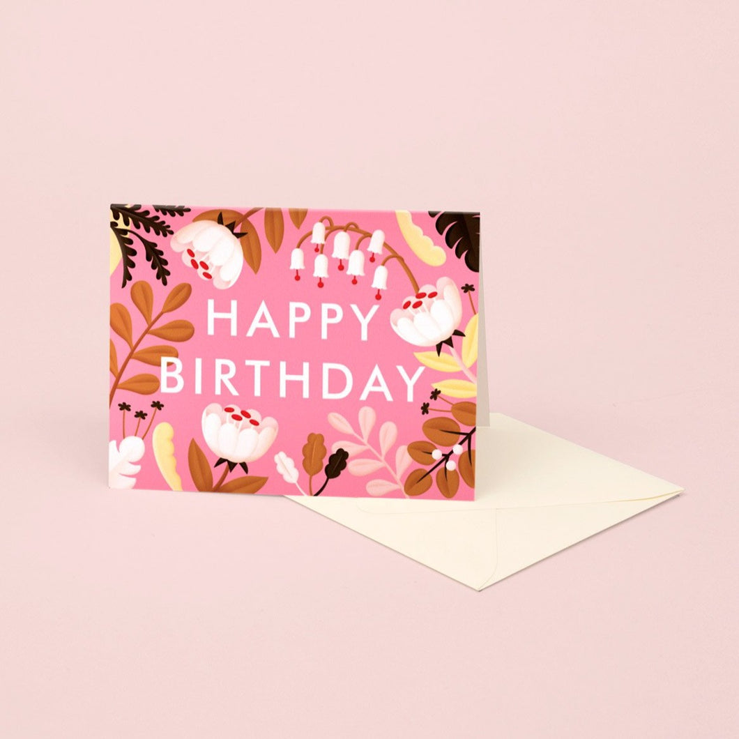 Forest Wildflowers Birthday Card - Fuscia | Paper & Cards Studio