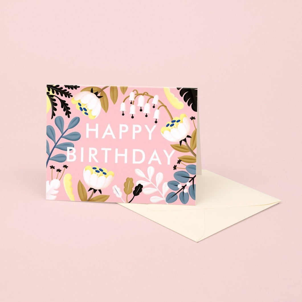 Forest Wildflowers Birthday Card - Blush | Paper & Cards Studio