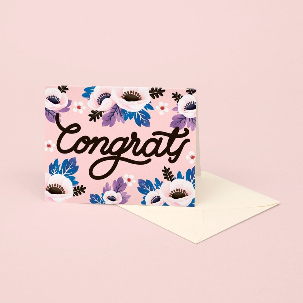 Pink Anemone Congrats Card | Paper & Cards Studio