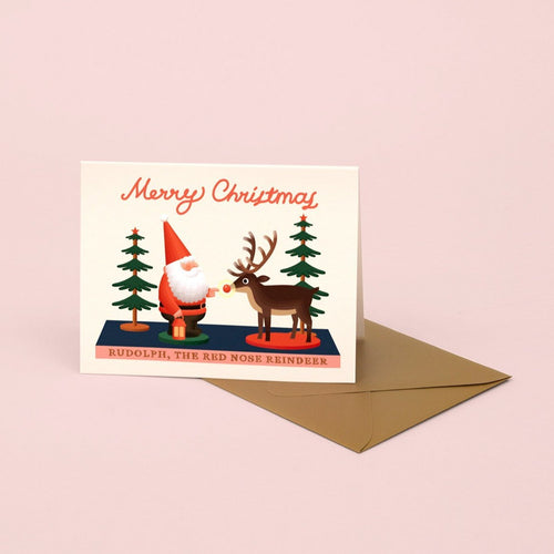 Santa and Rudolph Toy Christmas Card | Paper & Cards Studio