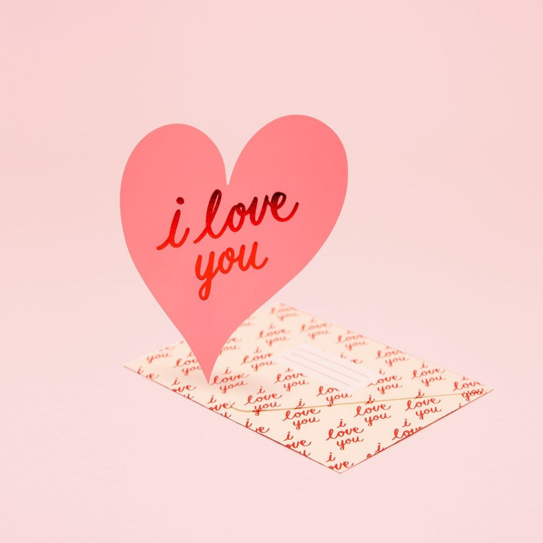 I Love You Card - Pink | Paper & Cards Studio