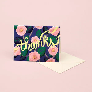 Pink Camellia Thank You Card | Paper & Cards Studio