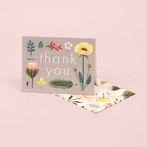 Spring Bloom Thank You Card - Grey | Paper & Cards Studio