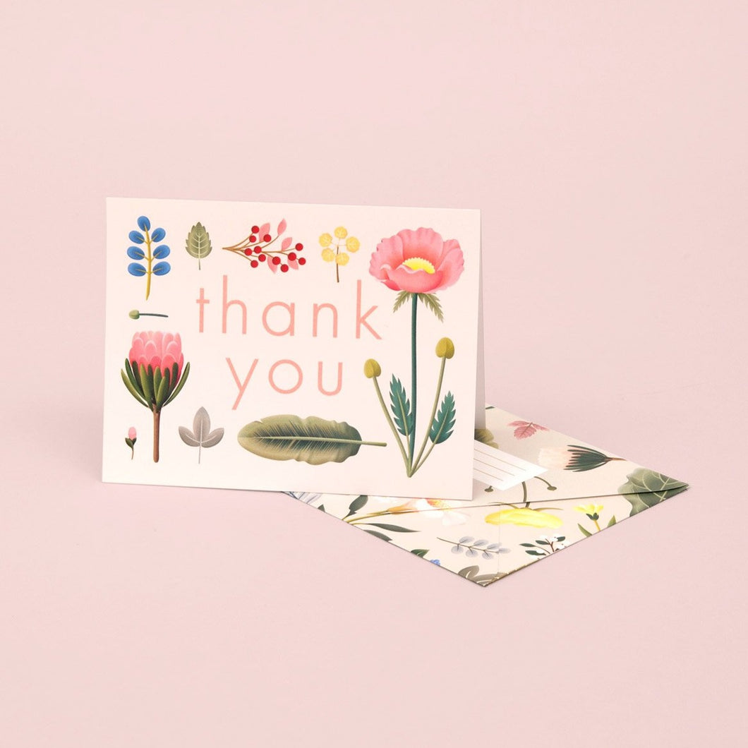 Spring Bloom Thank You Card - Cream | Paper & Cards Studio