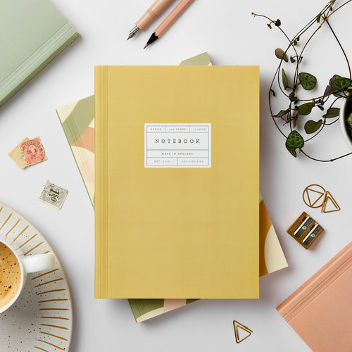 Mustard Lay-Flat Notebook, Blank | Paper & Cards Studio