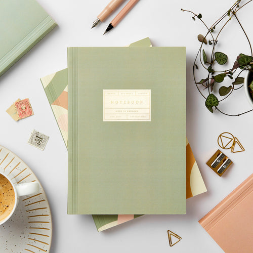 Green Lay-Flat Notebook, Blank | Paper & Cards Studio