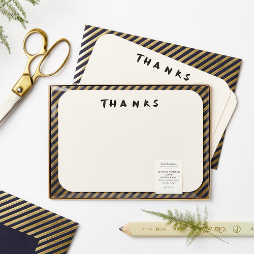 Brush Thanks Note Card Set | Paper & Cards Studio