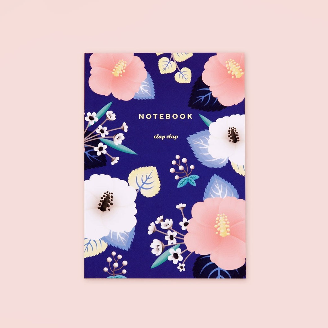 Hibiscus Notebook - Blue, Lined | Paper & Cards Studio