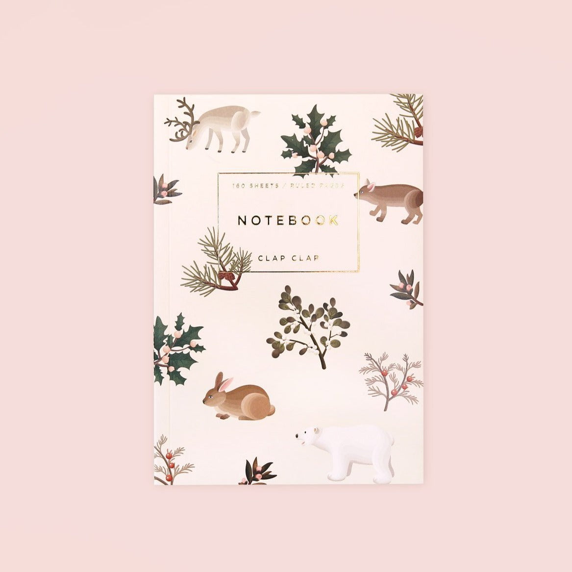 Wild Animals Notebook - Cream, Lined Hong Kong Stationery Cute Pink Pattern Rabbits Plants Flowers Clap Clap