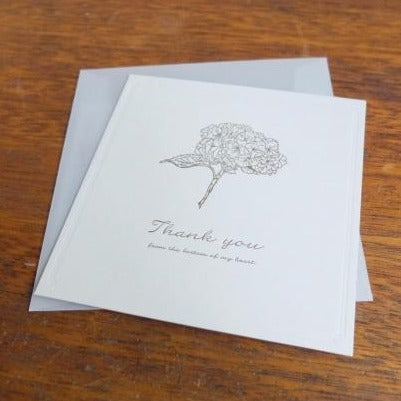 Thank You Hydrangea Letterpress Card | Paper & Cards Studio