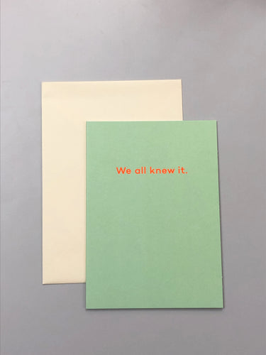 We All Knew It | Paper & Cards Studio