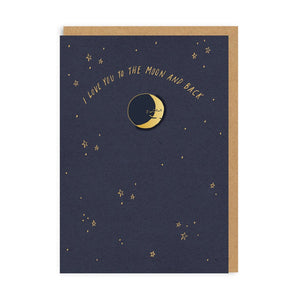 Moon and Back Enamel Pin Card