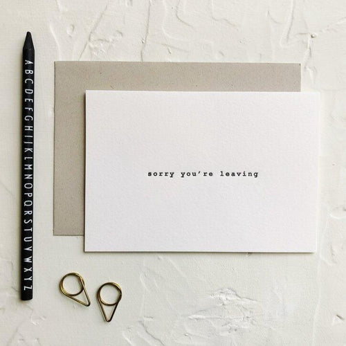 Typewriter Sorry You're Leaving | Paper & Cards Studio