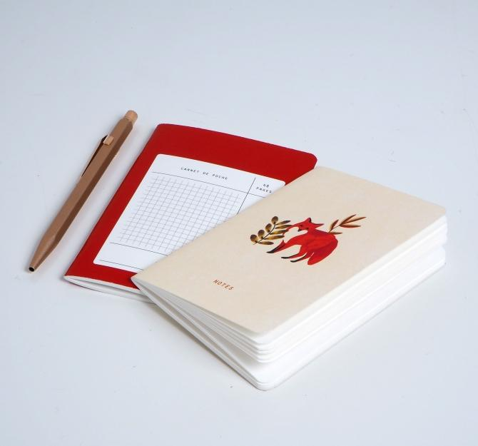 SEASON PAPER COLLECTION Foxes Mini Pocket Book, Blank and Grid Hong Kong Stationery Ivory Paper