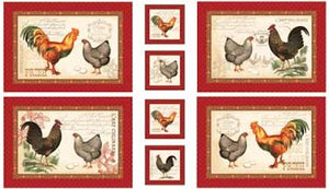 25525-MUL1 FRENCH CNTRY ROOSTER PANEL