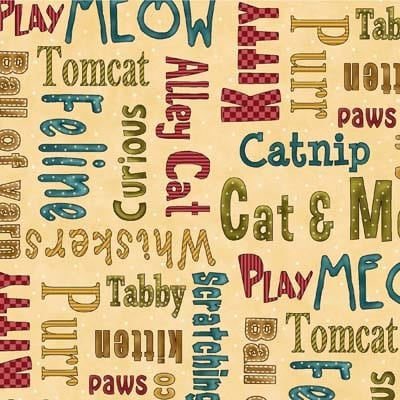 KITTY KAT KAPERS 8038-33 CAT WORDS