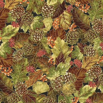 AUTUMN BEAUTIES METALLIC 19319-191 PINECONES AND LEAVES