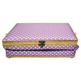 FOLDING SEWING BASKET- PURPLE POKA DOT