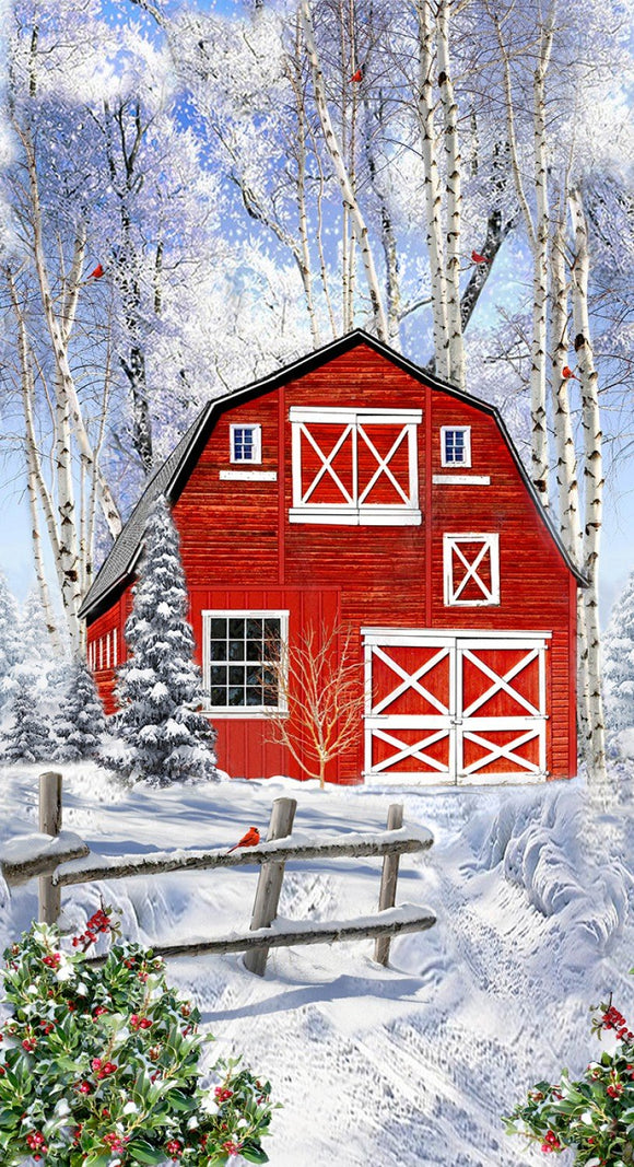 WINTER RED BARN C7868P PANEL