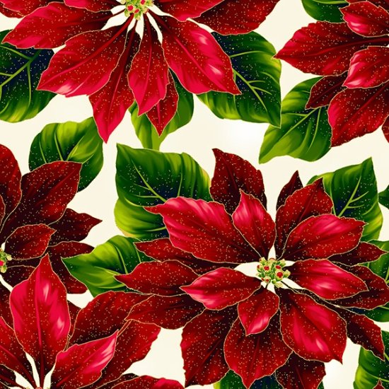 Christmas Poised Poinsettia R7667-20G Natural/Gold Poinsettias