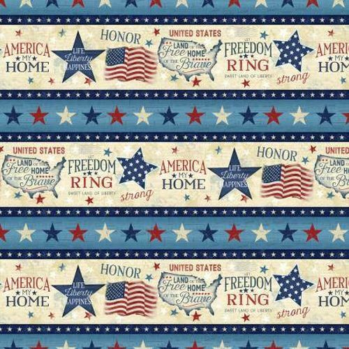 AMERICA MY HOME 82594-234 MULTI  BORDER PRINT
