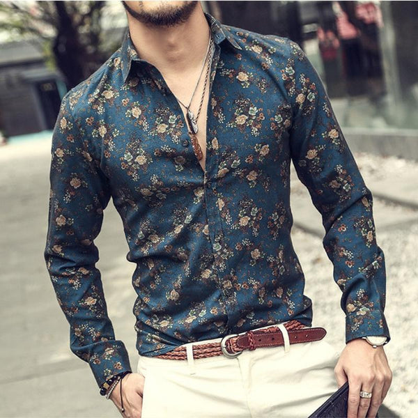 Blue Pulse Button Up